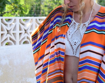 Orange Boho - Chic Kimono Caftan with silk texture – Mini Length – One size