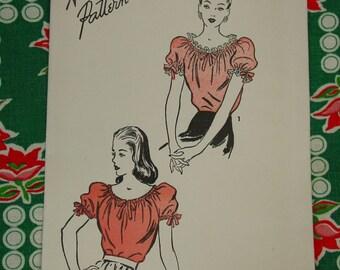 Vintage Pattern c.1940's Advance No.4091 Blouse, Size 14