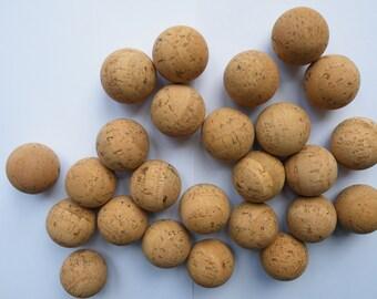 """25 Natural cork balls 1 1/2 """"(38 mm)"""