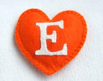 I love Etsy felt heart ornament, handmade, white, orange, home decor