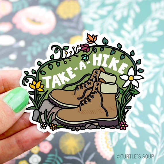 Hiking sticker take a hike vinyl sticker explore hiking