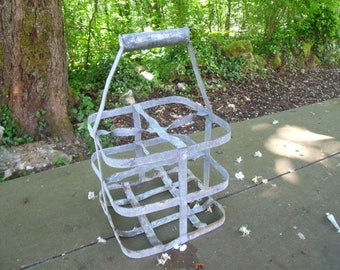 antique French bottle carrier , metal  , 4 places , bottle wine , bottle milk , very nice condition ,