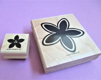Stylized Flowers Papercraft Rubber Stamps Set of 2 Wood Block Mounted Planner Goodie Scrapbooking Card Making DIY Invitations Crafts