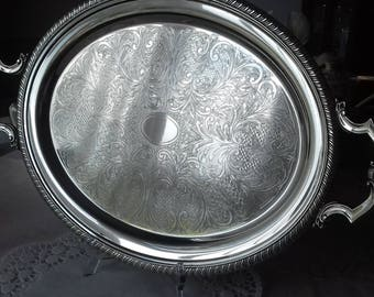 SALE ITEM CAVALIER 21 x 13 inch Antique twin handled footed serving tray - silver plated oval large decorative