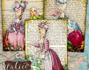 Marie Antoinette, Digital Collage Sheet, Digital Sheet, French Images, Instant Download, Botanical Roses, Digital French Images