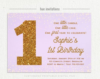 first birthday invitation girl purple and gold, 1st birthday party printable invitations, lavender gold glitter one little candle invitation