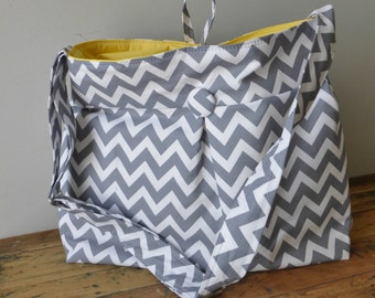 Grey Yellow Chevron Diaper Bag Extra Large - 6 Pockets - Key Fob - Adjustable Strap