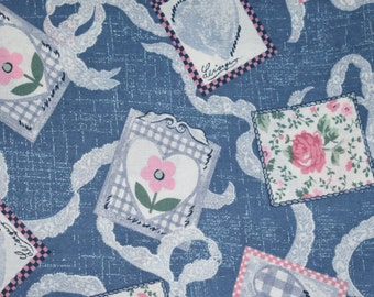 Country Blue Fabric, Blue Fabric, Floral Fabric, Blue Floral Fabric, Quilting Fabric, Fabric, Blue and Pink Fabric,