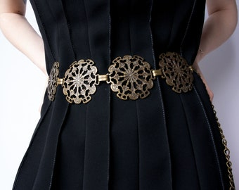 Vintage Italian Bohemian Belt, Medaillon Belt, Coin Belt, Concho Belt