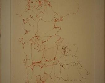 Leonor Fini Les Petites Filles Modeles, Comtesse de Ségur etching signed Vintage