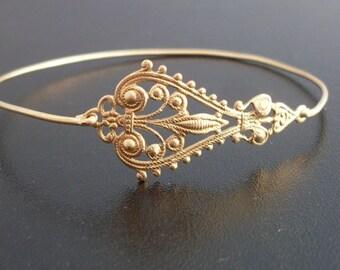 Gold Filigree Bracelet, Filigree Jewelry, Gypsy Boho Jewelry, Gold Bohemian Bracelet, Gold Boho Bangle, Filigree Bangle - Maylana