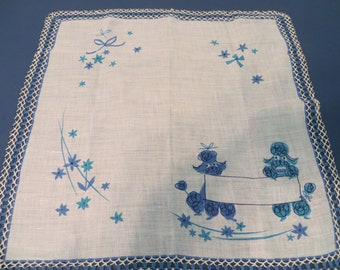 Vintage 2 Poodles Handkerchief with Crocheted Beadwork