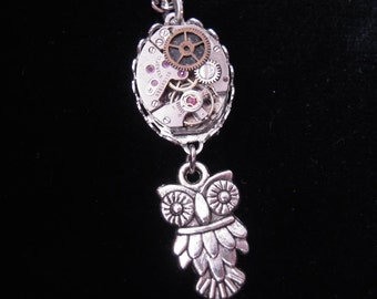 Steampunk OWL Necklace Watch Movement vintage A464