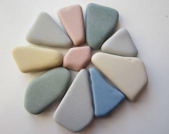 10 pcs sea pottery pastel colours/beach pottery for Crafts,/Art.C-13