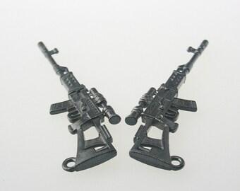 5 pcs. Zinc Gunmetal Cross Spider Rifle Gun Charms Decorations Findings 23x69 mm. M Gun Gun 2369 3 CHM SP