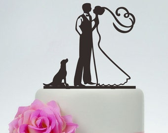 Groom And Bride Cake Topper with the dog,Wedding Cake Topper,Custom Dog Cake Topper,Couple Silhouette, Acrylic,Personalized Cake Topper P142