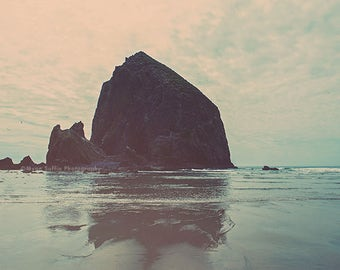 beach art, Cannon Beach photography print, Haystack Rock photo, Oregon coast art, blue baby nursery decor, seascape print, Myan Soffia