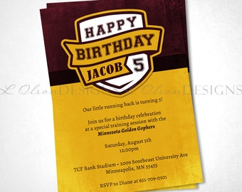 College Sports Team Color Birthday or Event Invite - DIY Printable