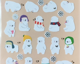 Polar Bear Stickers, Cozy Bear sticker,animal sticker,craft supply,scrapbook supply,diary sticker,colorful sticker,stationery