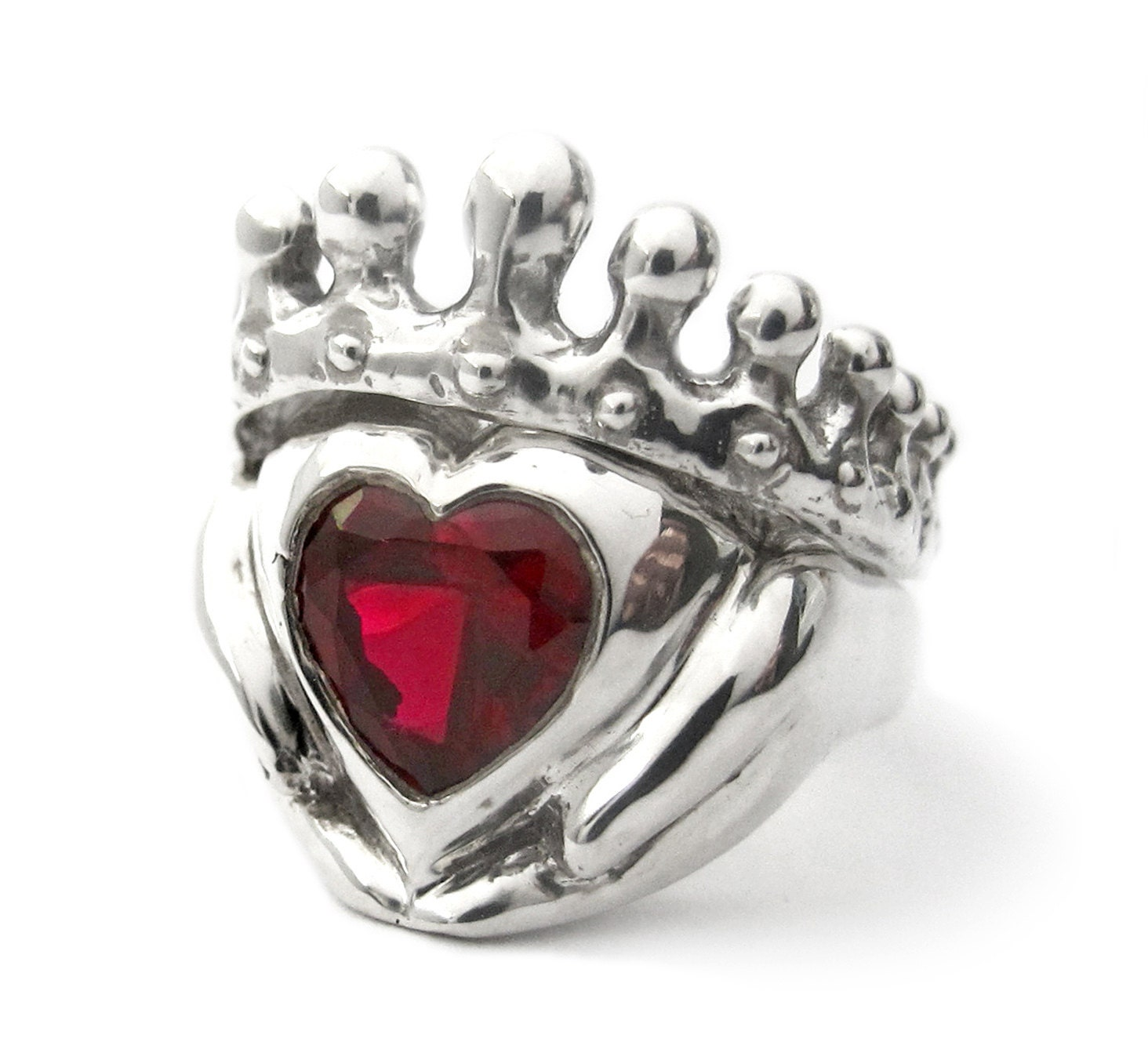 Big Red Heart Claddagh Wedding Set Engagement And