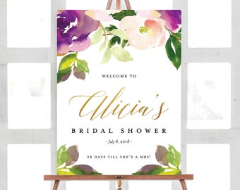 Bridal Welcome Sign, Floral Bridal Shower Welcome Sign, Greenery, Botanical, Flowers, Purple, Welcome Sign | Digital File Customizable