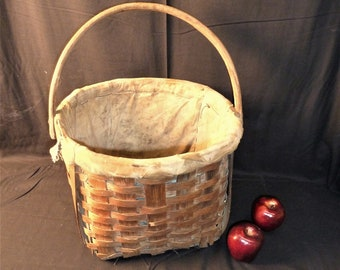 Antique Apple Picking Woven & Lined Basket