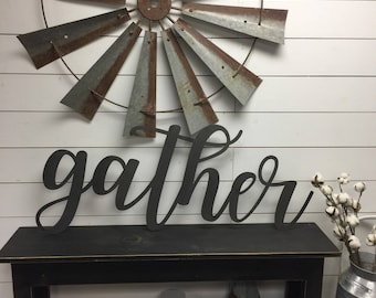 Gather Sign Large-Metal Gather Sign-Rustic-Farmhouse Decor- Metal Sign-Metal Wall Decor-sign-Metal letters-Metal Wall Decor- Home Decor