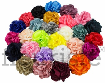 "2"" Burned Petal Flower, Satin Flower, Burned Flower, DIY Flower, Wholesale Flower, Fabric Flower, Wedding Flower, Satin Flower, CHOOSE COLOR"