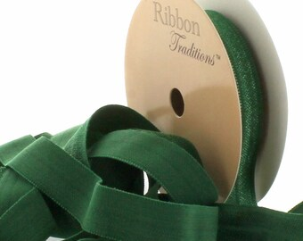 "5/8"" Fold Over Elastic (FOE) Ribbon 695 Forest Green 3yd"