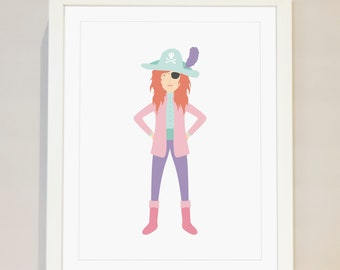 Pirate Printable - Printable Wall Art, Instant Download, DIY Wall Art, Girls Room, Ahoy, Pink Pirate, Lady Pirate, Woman