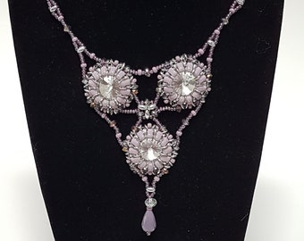 Chantelle Necklace in Soft Lilac Mauve with magnetic clasp.