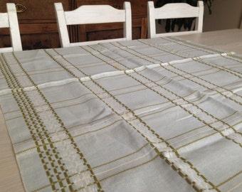 Vintage Swedish Table Cloth Light Blue Olive Green Table Cloth Patterned  Linen Table Cloth Woven Table