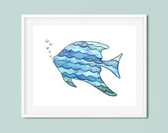 Fish painting Blue fish children art Ocean nursery decor Fish Nursery fish art Childrens art Fish watercolor painting Whimsical nursery art