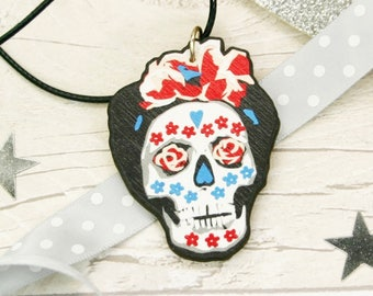 Frida Kahlo Necklace - Mexican Day of the Dead Jewellery - Dia De Los Muertos Gifts - Sugar Skull Laser Cut Jewellry - Frida Kahlo Pendant