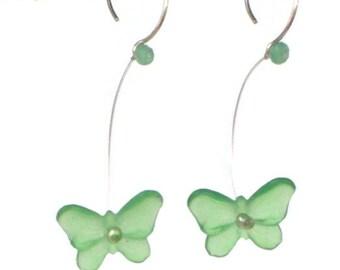 Green Vintage Lucite Butterfly earrings