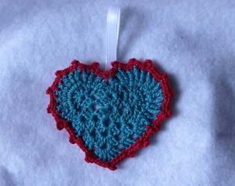 Turquoise Crocheted Heart with Red Trim and Felt on the Back Ornament  FREE SHIPPING
