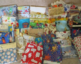 Kids Children Various Themed Scrap Fabric - Quilt Crafts -Almost 6 lbs