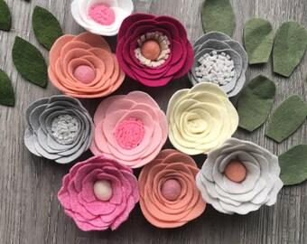 Loose Felt Flowers, Wool Felt Flowers, Valentines Felt Decor, Pink Nursery Flowers