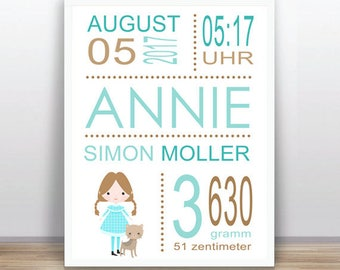 Wizard of Oz  baby announcement - Baby birth - Baby subway art PRINTABLE - Personalized