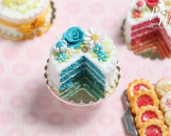MTO-Turquoise Velvet Layer Cake Decorated with Hand-sculpted Rose - Miniature Food for Dollhouse 12th scale 1:12
