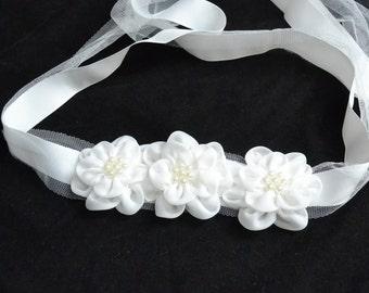Toddler Sash belt, chiffon flower sash belt, one size small to large, wedding belt, pearl belt, white belt ,pearl belt,