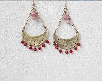Gypsy chic crescent moon chandelier earrings, pink gemstones and gold brass earrings, cherry pink statement earrings