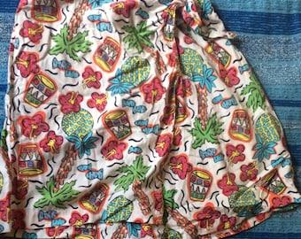 Adorable Fake Wrap Skort Size Large Tropical Print