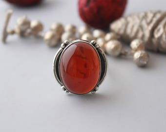 Gorgeous Red Onyx ring set in Sterling silver