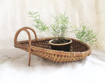Vintage Italian Import Wicker Wine Basket Vintage Planter Pot Home and Living Decor Vintage Woven Basket Desk Accessory Vintage French Decor