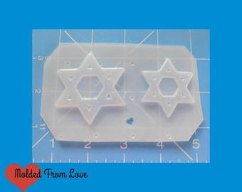 2 Small Star Of David Shapes handmade  Plastic Resin Mold