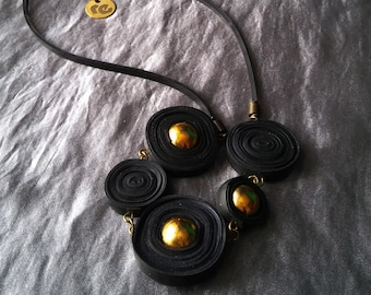 Black statement necklace BANGKOK. Upcycled necklace made of recycled inner tubes. Recycled bicycle jewelry. Vegan eco-friendly necklace.