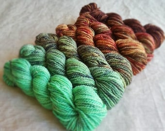 "Gradient Yarn Set, 6 oz / 567yds 70/30 SW Merino/Silk Fingering Weight Yarn, ""Trekking across the Continent"" (Dyed to Order)"