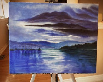 Lake Under the Clouds Landscape painting on canvas
