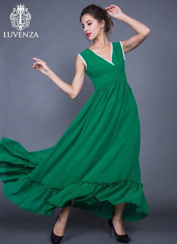 V Neck Smaragd Grün Chiffon Maxi-Kleid mit weißen